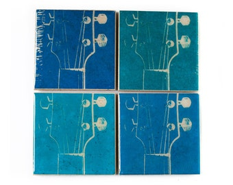 Guitar Coaster Set (4 Stone Coasters, Blue Hues) Music Home Decor - Guitar Gift - Musical Instrument Art - Father's Day Gift