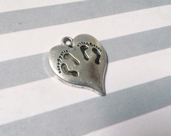 Twins Charm Baby Charm Heart Charm Pendant Footprints Charm Pendant Antiqued Silver 1pc
