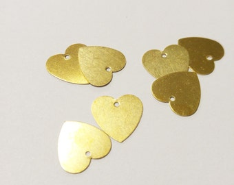 Brass Stamping Blanks Heart Blanks Heart Charms Blank Charms Unplated Brass Blanks Hand Stamping Blanks Metal Stamping 10 pieces 13mm
