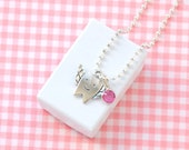 Lost Tooth Charm Necklace, Tooth Fairy Necklace Gift, Tooth Charm Necklace for Kids in Rose Pink
