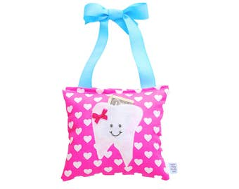 Tooth Fairy Pillow Girls Tooth Fairy Gift Personalized Tooth Fairy Pillow Personalized Kids Tooth Fairy Pouch in Pink Sweet Heart Print