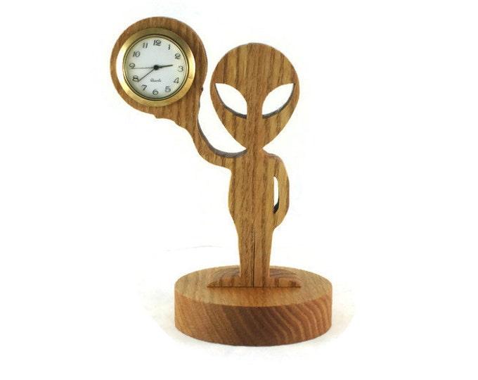 Alien Creature Desk Or Shelf Clock Handmade From Oak By KevsKrafts