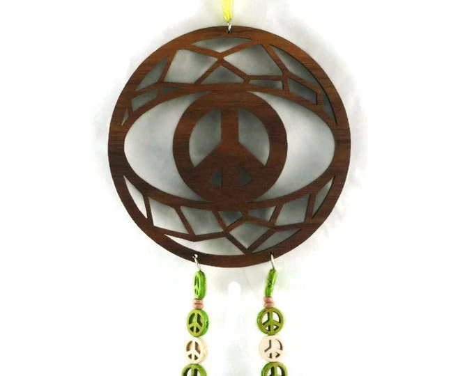 Peace Sign Dream Catcher with Green Peace Beads Handcrafted from Walnut Wood
