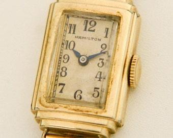 "c1938 Hamilton 10K Gold Filled ""Paula"" 997 17J Ladies Wrist Watch for Repair L2Y"