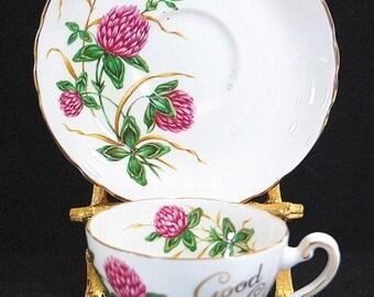 Vintage Tuscan Good Luck 4 Leaf Clover Fine Bone China Tea Cup & Saucer Set