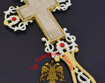 Blessing Cross with Mount Athos Wooden Carved Cross with Stones Made in Greece