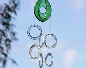 green and clear glass wind chime mobile from recycled bottles