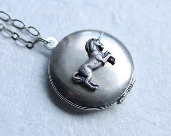 Unicorn Locket ... Silver Vintage Pegasus Horse Pendant Necklace