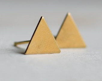Triangle Earrings ... Geometric Deco Brass Stud Posts
