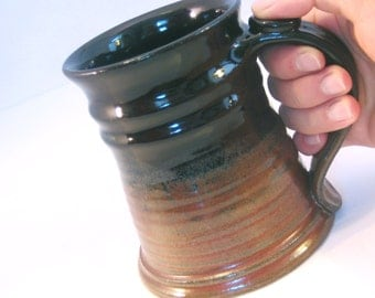Large 24 oz. Tankard, Stein, Coffee Mug - Handmade Pottery Glazed in Rustic Rust Red and Black