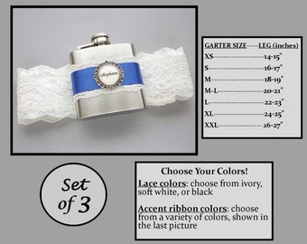 Three (3) Flask Garters: Bridesmaids Gift Set - Garters with Personalized Flasks - Choose Your Colors - Lace Bridal Garter with Flask