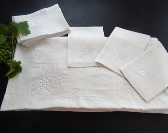 12 French Antique  Napkins with Matching Tablecloth Finely Embroidered with Grapes and Leaves