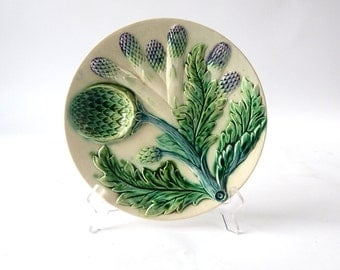 French Antique Asparagus and Artichoke Plate in Majolica