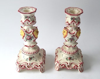 Pair French Luneville Candlesticks Matched Pair in Hand Painted Faience