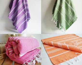 Free Shipment SET 4 Piece Turkish BATH Towel - Classic Peshtemal Orange - Purple - Pink - Green