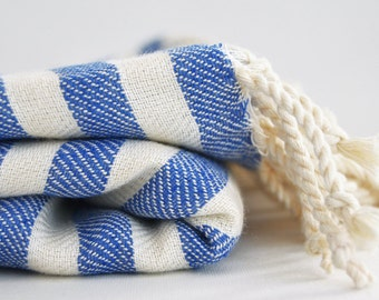 SALE 50 OFF/ BathStyle / Blue Striped / Turkish Beach Bath Towel / Wedding Gift, Spa, Swim, Pool Towels and Pareo