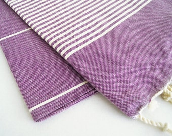 SALE 50 OFF/ Turkish Beach Bath Towel / Classic Peshtemal / Purple / Wedding Gift, Spa, Swim, Pool Towels and Pareo