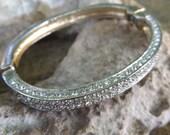 Silver tone, magnetic close, crystal bangle bracelet, crystal encrusted pave bracelet,