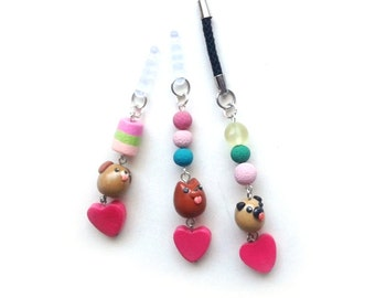 Kawaii Polymer Clay Puppy Cellphone Strap / Dust Stopper