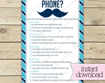 Little Man Baby Shower Whats in Your Phone Game Printable - Mustache Baby Shower Game - Instant Download -  Blue Navy Blue