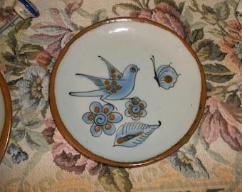 Mexican Pottery Vintage Ken Edwards El Palomar Small Plate Blue Bird Butterfly