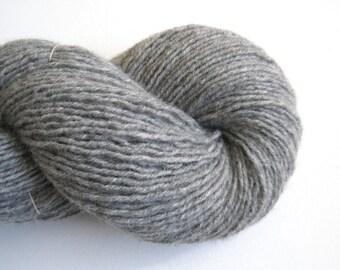 Recycled Wool Alpaca Blend DK Yarn in Medium Gray, Lot 061215