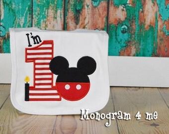 Mickey Mouse inspired Birthday Bib, Boys Birthday Bib