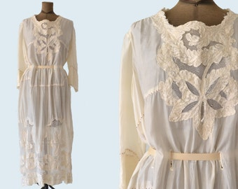 Edwardian Cream Silk Night Gown size M
