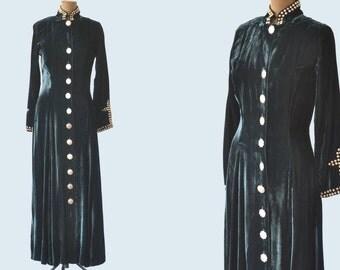 1980s Green Velvet Western Dress size S READY