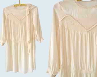 1920s Childs Cream Silk Dress