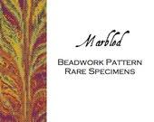 Marbled Peyote Stitch Beadwork Pattern - Cuff Bracelet - Bookmark - PDF download
