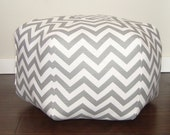 Chevron pouf / Grey Chevron / floor cushion / floor pillow / chevron floor pouf - ottoman pillow - floor cushion - foot stool