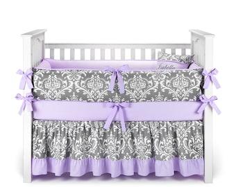 Custom Made  - Damask Gray & Lilac Crib Bedding Set