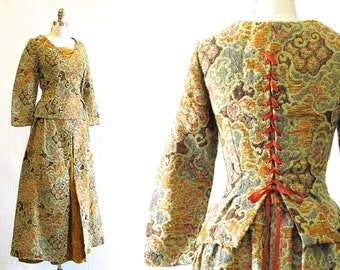 Vintage Renaissance Style Costume | Tapestry 2 Piece Set  | 1970s Renaissance Costume | Cosplay, Renfaire, Halloween | Size Small