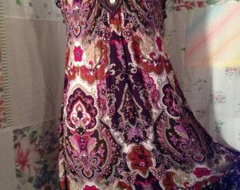SMALL/MED Flowerchild Hippie Boho Dress
