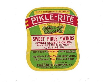 Vintage Pikle-Rite Sweet Pikle *Wings Label, C1950s