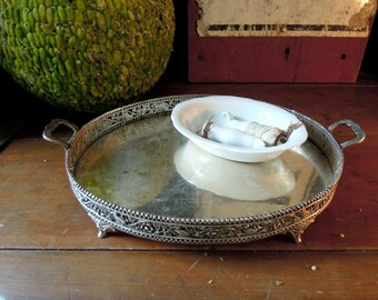 Vintage Silver Plate Rimmed Oval Vanity Tray / Perfume Tray / Vanity Tray / Mirror Tray / Serving Tray / Tea Tray