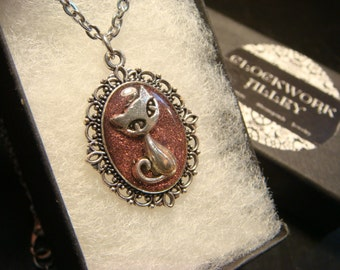 Small Cat Necklace -Antique Silver with Rose Glitter (1999)