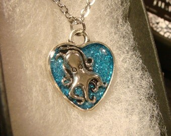 Small Octopus Heart  Necklace-Blue Glitter Background (2084)