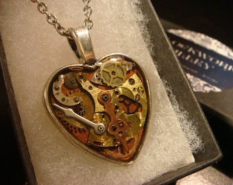 Clockwork Heart with Vintage Watch Parts Steampunk Style Necklace (2124)