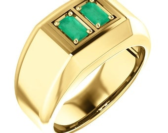 1.0 Carat Double Stone Genuine Natural Colombian Emerald Emerald Cut Men's Gold Ring 18K Solid Gold, Emerald Ring, Mens Emerald Ring, 14k