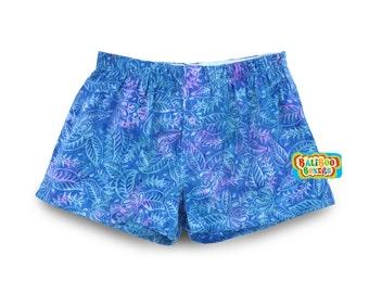 Womens Floral Pajama, Blue Floral Pajama Short, Women Floral Boxers, Blue Boxer Shorts, Womens Pajama