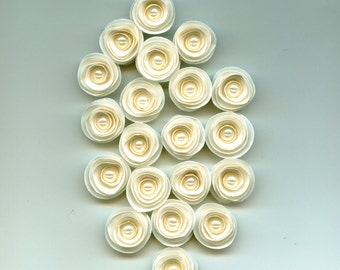 Mini Pearl Off White Rose Spiral Paper Flowers for Weddings, Bouquets, Events and Crafts