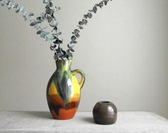 Pottery Jug Vase , Vintage Ukrainian Soviet Pottery , Colorful Summer Decor Flower Vase , Vintage Boho Decor