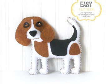 Beagle Sewing Pattern, Dog Hand Sewing Pattern, Felt Beagle Sewing Pattern, Stuffed Dog Pattern, Easy Dog Sewing, Instant Download