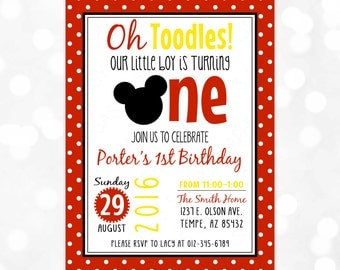 Oh Toodles Birthday Invitation – Boy Birthday Invite Red Polka Dot First Birthday Mickey Mouse Printable Digital Invite PDF (Item #1)