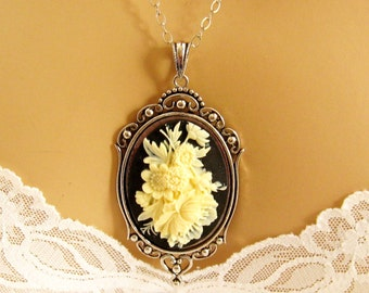 Flower Cameo Necklace, Victorian Black Cameo, Flower Black Cameo Necklace, Victorian Cameo Jewelry, Sterling Silver Chain