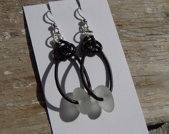 Celtic Knots White Sea Glass Leather and Silver Earrings (S19)