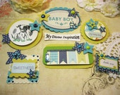 Carta Bella Baby Mine Handmade Baby Boy Paper Embellishments for Scrapbooking Cards Mini Albums Tags and Papercrafts