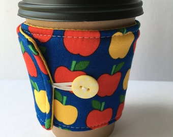 Coffee Cozy- Red and Yellow Apple Coffee Cup Sleeve- Reusable Cotton Fabric Coffee Sleeve- Teacher Gift Idea